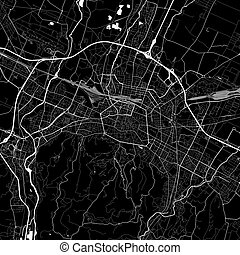 Area map of Bologna, Italy. Dark background version for...