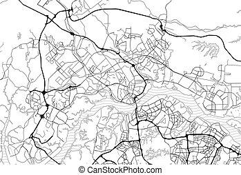 Area map of Johor Bahru, Malaysia