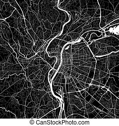 Area map of Lyon, France. Dark background version for...