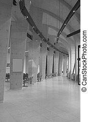 area., modernos, esperando, pretas, white., corredor