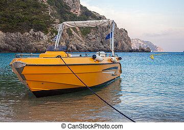 area., montanhoso, embarcadouro, hopping., ilha, praia., rocha, privado, água, shoreline., formação, amarela, veículo, transporte, secluding, barco velocidade, modo