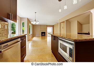 area., pavimento, casa, interno, piastrella, marmo, vuoto, cucina