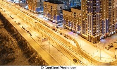 area., résidentiel, ekaterinburg, universitaire, coucher soleil, nuit, russie, levers de soleil