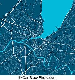 area., urbano, ciudad, map., calle, ginebra, mapa, poster.