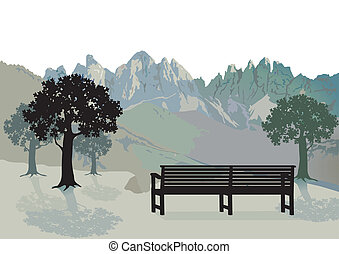 Area with park bench