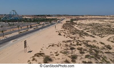Areal shot of dune border in Israel