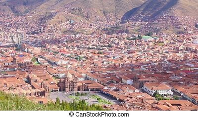 Areal view of Cuzco, Peru. UNESCO World Heritage Site.