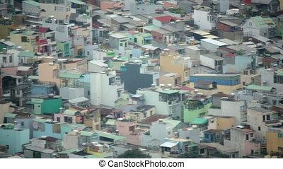 Areal view of Ho Chi Minh City Slums, Saigon, Vietnam