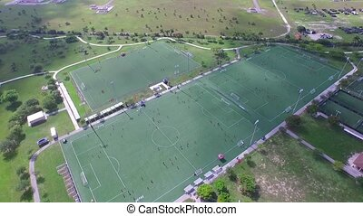 Areal view of soccer fields. camp