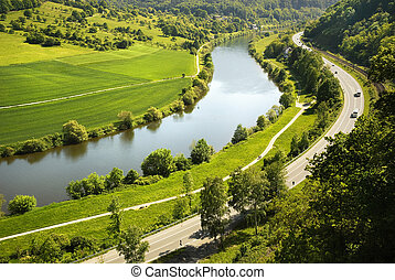 Areal view on Neckar river in Germany - Areal view on Neckar...