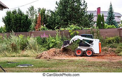 areas., gebied, land, emmer, machine, materials., verhuizing, construction., kleine, stuur, tractor, massa, bouwterrein, werken, bekrompen, slippen, terrein, clears, improvement., lader
