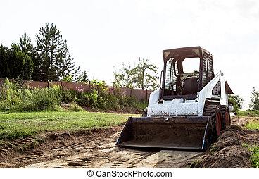areas., område, land, hink, maskin, materials., gripande, construction., liten, styra, traktor, bulken, plats, arbete, begränsat, sladda, smutsa, clears, improvement., lastare