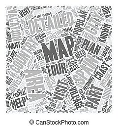 Areas On A Detailed Map Of Spain text background wordcloud concept
