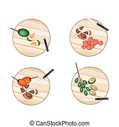 Areca Nut Fruit on A Cutting Boards