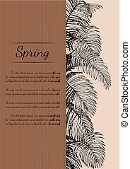 Areca palm invitation card by hand drawing.