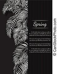 Areca palm vintage card on brown background.