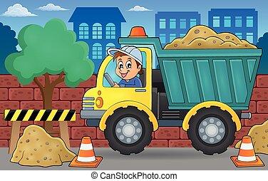 areia, 2, caminhão, tema, imagem