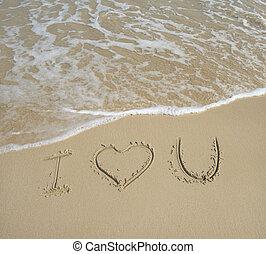areia, amor, textura, fundo, u