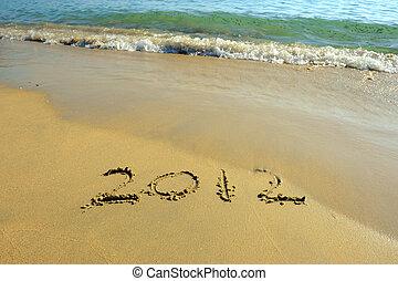 areia, ano, novo, mensagem, praia, 2012