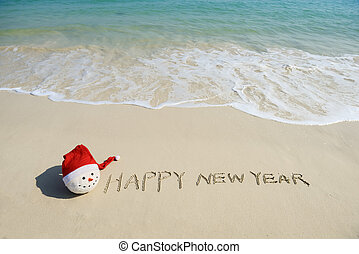 areia, ano, novo, mensagem, praia, feliz
