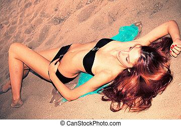 areia, biquíni, mulher
