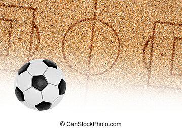 areia, bola, arremesso futebol