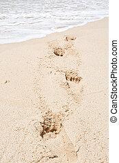 areia, com, profundo, pegadas