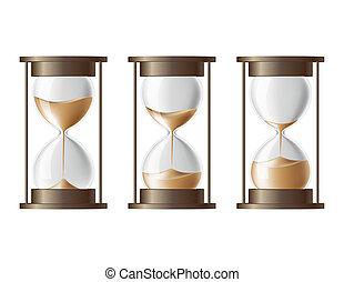 areia, desabando, a, hourglass.