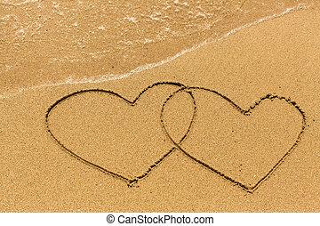 areia, desenhado, dois corações