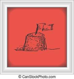areia, doodle, castelo, simples