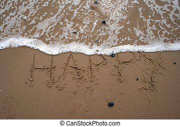 areia, escrita, -, feliz