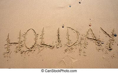areia, escrita, -, holoday