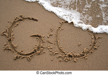 areia, escrita, -, ir