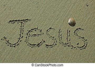 areia, escrita, -, jesus