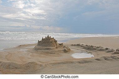areia, fosso, castelo, paisagem