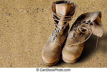 areia, nós, botas, exército