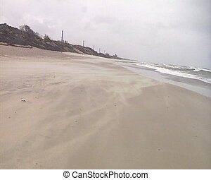 areia, ondas, mar, drifting