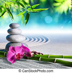 areia, orquídea, e, massagem, pedras