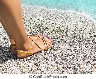 areia, pés, mar, femininas, bonito