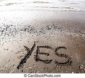 Areia, palavra, sim, mar, escrita