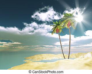 areia, palma, fundo, árvores, 3d