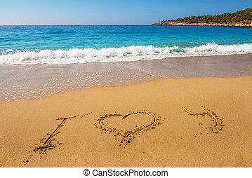 areia praia, amor, mensagem, tu