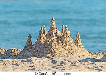 areia, praia., castelo