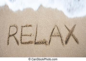 areia praia, manuscrito, palavra, relaxe