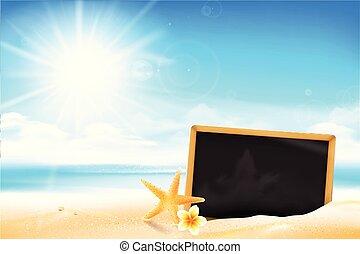 areia praia, pretas, tábua, em branco