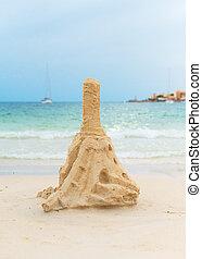 areia, praia., torre