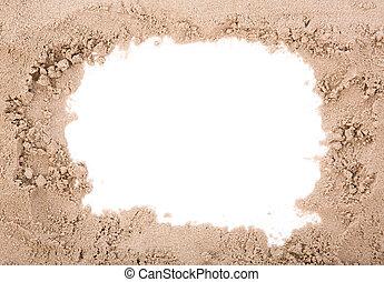 areia, quadro, com, espaço cópia