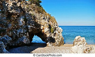 areia, roacks, praia, mar, paraisos