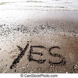 Areia, sim, escrito, mar