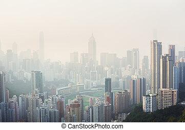areje poluição, pendura, sobre, a, feliz, vale, distrito,...